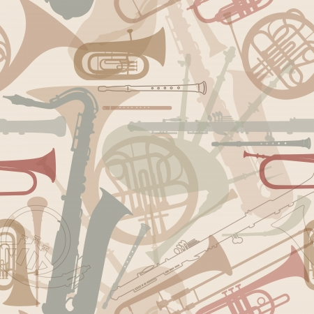 Music instruments seamless pattern  Musical instrument silhouette repeating background  Vector set