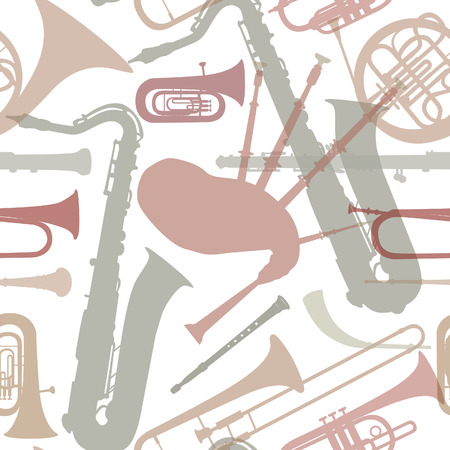 saxhorn: Music instruments seamless pattern  Musical instrument silhouette repeating background  Vector set