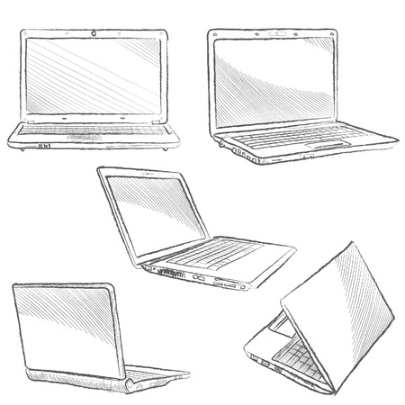 powerbook: Laptop set  Vector hand drawn illustration isolated on white background Illustration