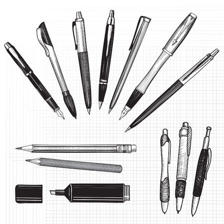 펜 흰색에 고립 된 손으로 그린 벡터 연필, 펜과 마커의 컬렉션입니다