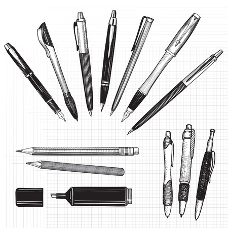 lapices: Pen set Dibujado a mano vector L�pices, bol�grafos y colecci�n marcador aislado en blanco