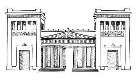 roman column: Acropolis Propylaea,  Athens, Greece  Greek Hand drawn landmark