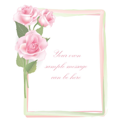 Flower frame isolated on white background  Rose posy border   Vector