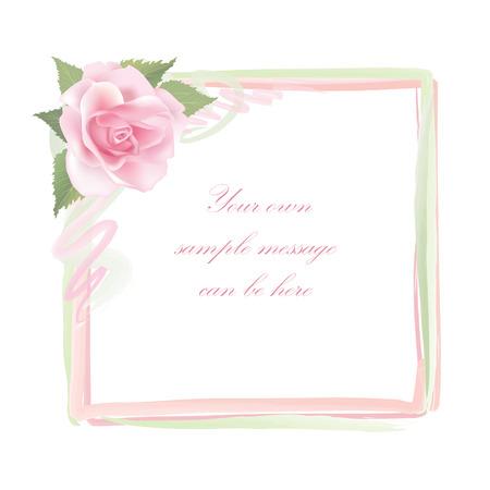rose frame: Flower frame isolated on white background  Rose posy border   Illustration