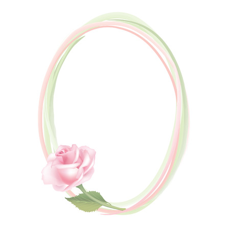 Frame from flowers necklace  Almond rose frame isolated on white background  Vector