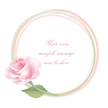 Flower rose background  Floral frame with pink roses   Vector