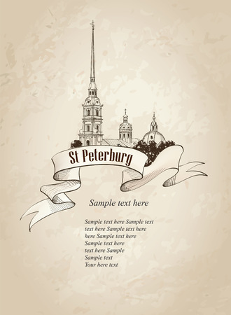 petersburg: St  Petersburg landmark, Russia  Saint Peter and Paul Cathedral,  Russian cityscape retro vector background Illustration