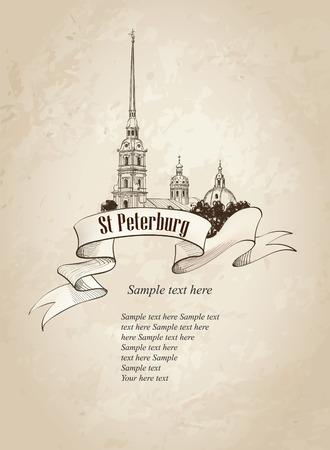 Sankt Petersburg Sehenswürdigkeiten Russland Sankt Peter und Paul Kathedrale, Russisch Stadtbild retro Vektor-Hintergrund