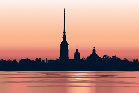 st  petersburg: St  Petersburg landmark, Russia  Saint Peter and Paul Cathedral and Fortress, sunrise view from Neva river  Russian cityscape silhouette vector background  Illustration