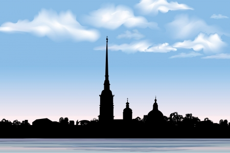 st petersburg: St  Petersburg landmark, Russia  Saint Peter and Paul Cathedral and Fortress, view from Neva river  Russian cityscape silhouette vector background