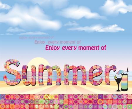 view wallpaper: Summer holidays background  Seaside View Poster  Vector beach resort wallpaper