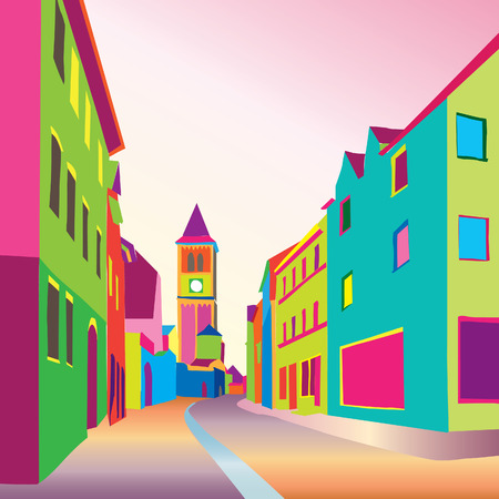 Pedestrian street in the old european city. Hand drawn colourful sketch in 1906s pop art style. Vector funcky cityscape.