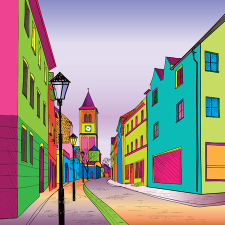 slovenia: Funky journey. Predistant street in euoropean city. Colorful panorama city vector background in 1960s pop art style.