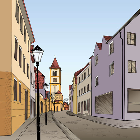 provincial: Pedestrian street in the old european city with tower on the background. Historic city street. Hand drawn sketch. Vector illustration.
