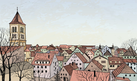 provincial: Pedestrian street in the old european city with tower on the background  Old-fashioned hand drawn illustration  Urban sceene wallpaper