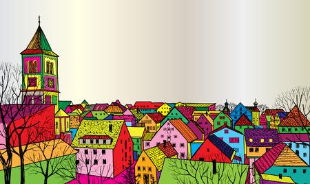 Reise Postkarte in den 1960er Jahren Pop-Art Stil Fußgängerzone in der alten europäischen Stadt mit Turm auf dem Hintergrund Historische Stadtstraße Funck städtischen sceene Tapete
