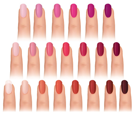 Nail polish in different fashion colors  Nail care set  Manicured finger isolated Vector