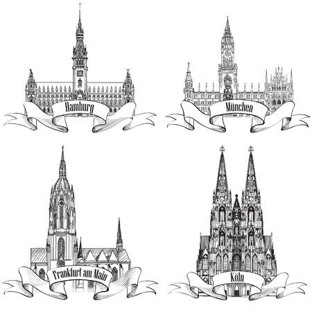 dom: Étiquette de Voyage de la ville Geman mis Hambourg, Munich, Cologne, Frankfurt am Main, Gemany, l'Europe Main symbole dessiné ville de Vector set