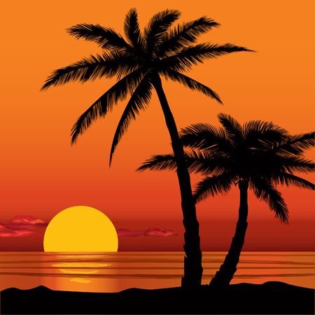 sunset tree: Summer holidays background  Seaside View Poster  Vector beach resort wallpaper Illustration