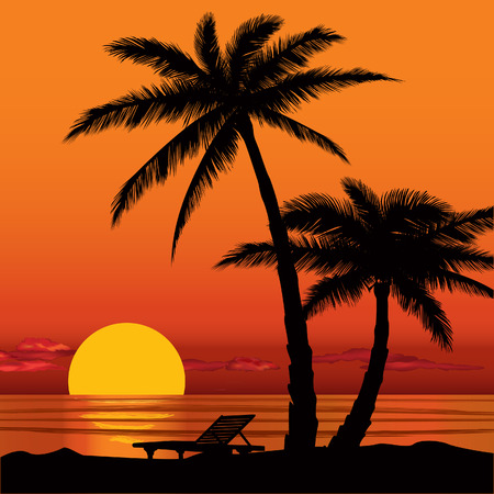 Summer holidays background  Sunset View Poster  Vector beach resort wallpaper