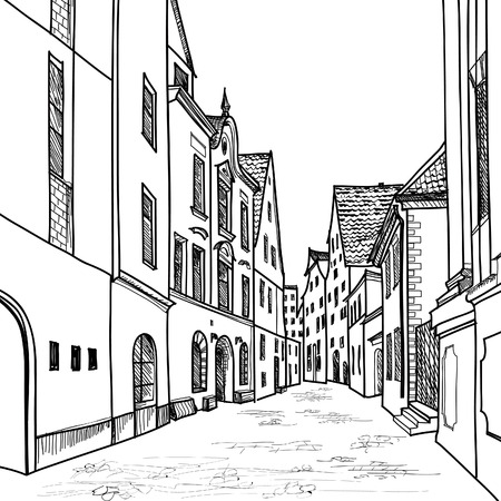 European downtown landscape  Vector illustration  Pedestrian street in the old European city with church on the background  Historic city street  Hand drawn sketch of cityscape   Illustration