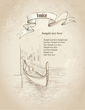 Venice cityscape  Ancient buildings and canal with gondola  Travel Italy card  Old-fashioned background with copy space  Vector hand drawn illustration   Vector