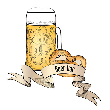 Beer symbol. Full Beer Mug with pretzel. Beer bar old-fashioned banner Vector