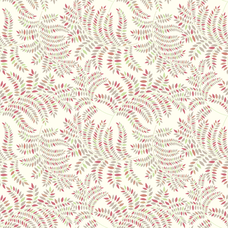 Floral pattern with leaves. Ornamental leaf seamless texture. Nature background. Vector