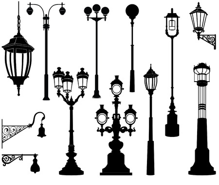 lamp silhouette: Street lamp set.
