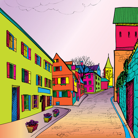 Travel postcard in 1960s pop art style. Pedestrian street in the old european city with tower on the background. Historic city street. Funck urban sceene wallpaper.