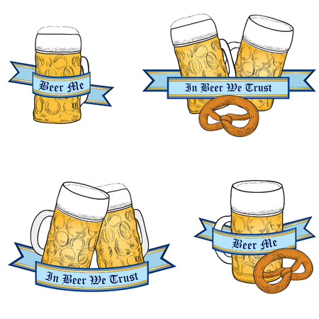 Beer icon set. Full Beer Mug. Octoberfest Label Collection. Vector