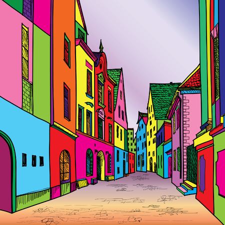 Funky journey. Predistant street in euoropean city. Colorful panorama city vector background in 1960s pop art style.