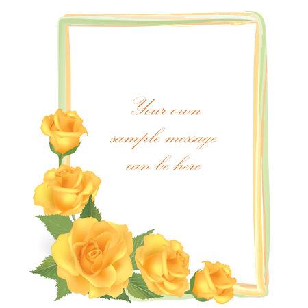flower rose: Flower Rose frame isolated on white background. Floral vector wallpaper.