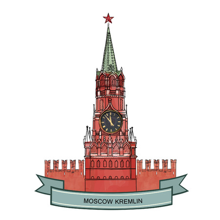 red square moscow: Spasskaya tower, Red Square, Kremlin, Moscow, Russia. Moscow City Label. Travel icon vector hand drawn illustration.
