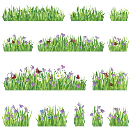 Grass border background set. Summer flower frame collection. Vector