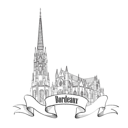 Bordeaux landmark St Michel cathedral, France. Travel french city symbol. Hand drawn sketch. Vector