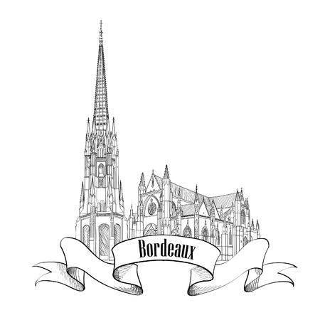 bordeaux: Bordeaux landmark St Michel cathedral, France. Travel french city symbol. Hand drawn sketch. Illustration
