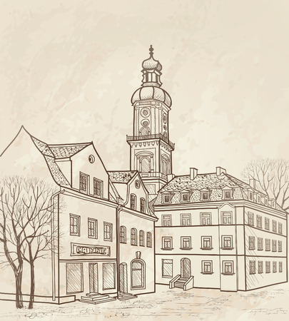 provincial:  Pedestrian street in the old european city with tower on the background  Historic city street  Hand drawn sketch of cityscape  Vector old fashioned  illustration