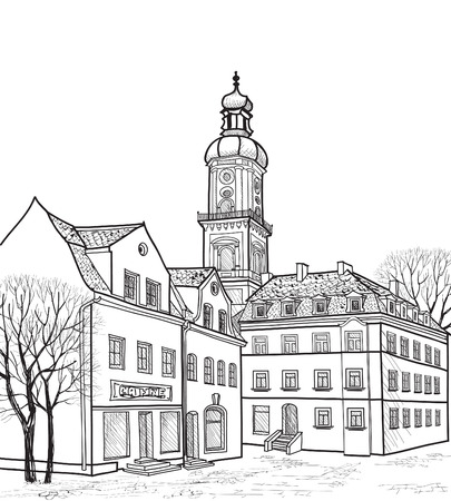 provincial:  Pedestrian street in the old european city with church on background  Historic city street perspective  Hand drawn sketch of cityscape  Vector illustration