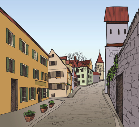 provincial: Pedestrian street in the old european city with tower on the background  Historic city street  Hand drawn sketch  Vector illustration   Illustration