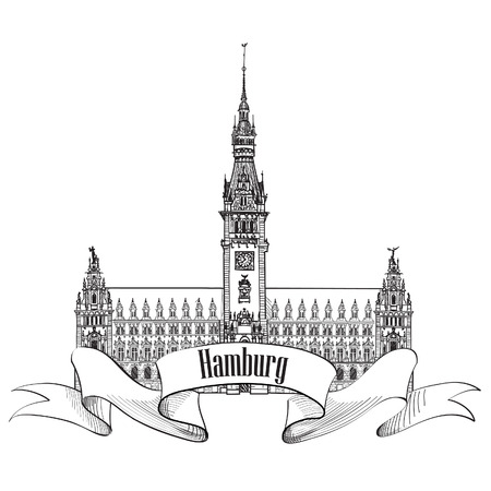 the old town hall: German city travel icon  Hamburg, Germany, Europe  Hand drawn vector sketch town symbol set