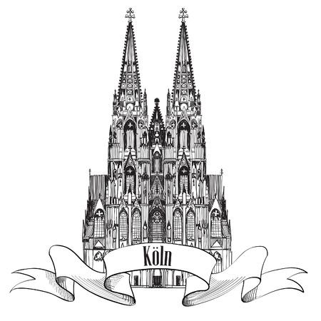 dom: Icône allemande de Voyage de la ville de Cologne, en Allemagne, en Europe Main croquis tiré vecteur symbole de la ville ensemble