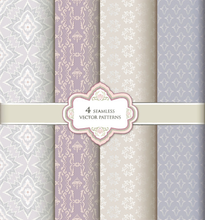 textured paper: Seamless pattern set in vintage style  Abstract vector texture  Geometric backgrounds collection