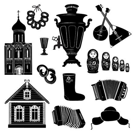 muñecas rusas: Iconos ruso Mano colección de dibujo vectorial símbolo Objeto Descubra Rusia