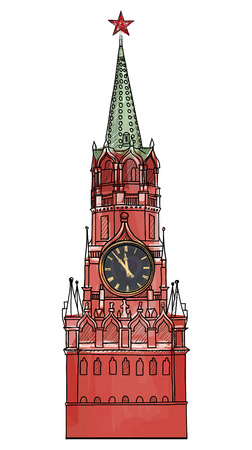 stalin: Moscow city symbol  Spasskaya tower, Red Square, Kremlin, Moscow, Russia  Travel icon sketch vector illustration