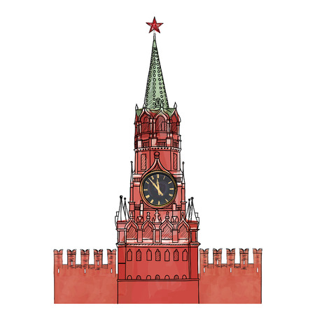 to chime: Moscow city symbol  Spasskaya tower, Red Square, Kremlin, Moscow, Russia  Travel icon sketch vector illustration