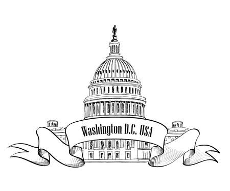 Símbolo de Washington DC Capitolio de Estados Unidos Capitolio, dibujo a mano EE.UU. Capitolio cúpula vector dibujado aislado en fondo blanco