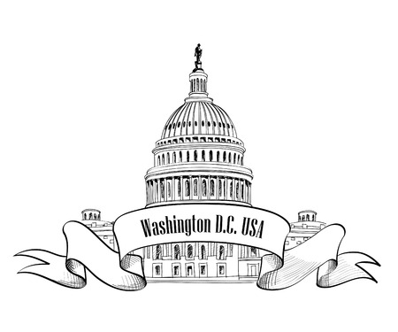 washington: Washington DC symbol  United States Capitol  Capitol hill, U  S  Capitol dome   Vector hand drawn sketch isolated on white background
