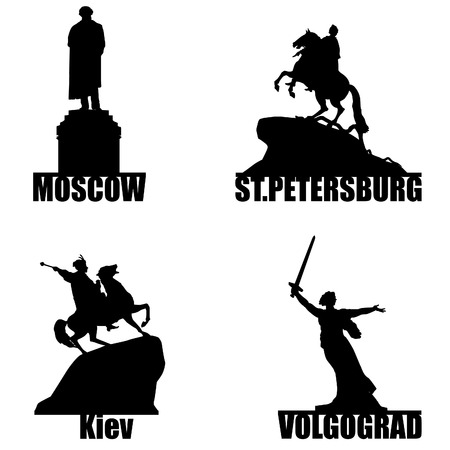 St  Petersburg: Russian city symbol silhouette set  Moscow, St Petersbrg, Volgorad and Ukrainian Kiev