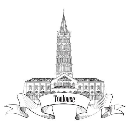 Toulouse landmark basilica of Saint Sernin, south France  Roman architectural style church  Travel France symbol